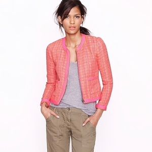J. Crew Tweed Bright Pink Orange Jacket 12